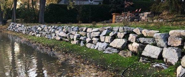 Aménagrment des berges - mur de pierres - réfection ancien mur