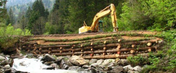 Aménagement des berges - mur de caissons végétalisés - caisson de bois hybride