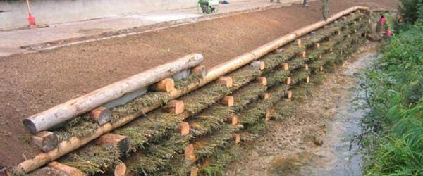 Aménagement des berges - tunage - mur de soutènement en caisson de bois